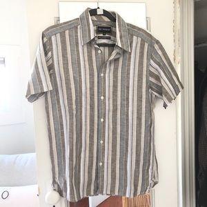 Mens Linen Blend Button Down Shirt